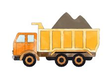 Orange dump truck Stock Image