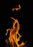 Illustration with orange fire isolated on black. Illustration with bright flame on black background Royalty Free Stock Image