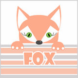 Illustration of orange fox greeting card, poster, invitation Royalty Free Stock Photo