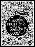 Illustration Of Orange Fruit And Hand Drawn Lettering. Stock Photo