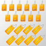 Illustration of orange labels with offers Royalty Free Stock Photography