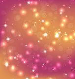 Illustration of Orange Red Abstract Christmas Background With Bright Stars, Bokeh and Snowflakes Royalty Free Stock Images