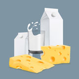 Illustration of organic cheese with packaging carton and full glass of splashing milk vector realistic icon Stock Images