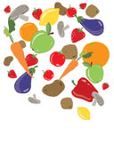 Organic food. An illustration of organic fruit and veg tumbling from above isolated on a white background Royalty Free Stock Photography