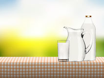 Illustration of organic milk in transparent glass, bottle and jug standing on a table covered by checkered napkin Stock Images