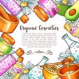 Illustration organique de cosmétiques Ensemble de beauté Éléments tirés par la main de station thermale et d'aromatherapy Croquis illustration de vecteur