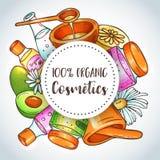 Illustration organique de cosmétiques Ensemble de beauté Éléments tirés par la main de station thermale et d'aromatherapy Croquis illustration libre de droits