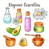 Illustration organique de cosmétiques Ensemble de beauté Éléments tirés par la main de station thermale et d'aromatherapy Croquis Images stock