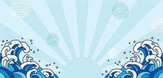 Illustration orientale bleue de vague japan Asiatique illustration de vecteur