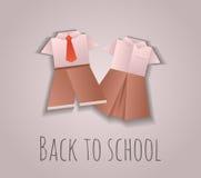 Illustration of origami children's school uniforms Stock Photos