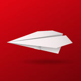 Illustration of origami paper airplane on red background royalty free illustration