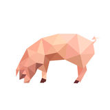 Illustration of origami pink pig Stock Photography