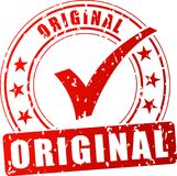 Original red stamp. Illustration of original red stamp on white background Royalty Free Stock Images