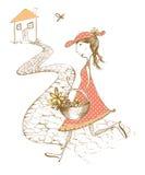 Illustration originale, fille à la maison image libre de droits