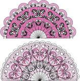 Illustration of ornament fan. Vector illustration of ornament fan graphics with pink on white background Stock Photography
