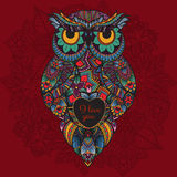 illustration of ornamental owl. Bird illustrated in tribal. Boho owl with love. Heart for Valentine day Royalty Free Stock Images