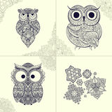 illustration of ornamental owl. Bird illustrated in tribal. Set of ornamental owls with flowers and pattern from owls. Stock Photos
