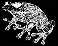 Illustration ornementale tirée par la main de grenouille de griffonnage avec des ornements de zentangle, illustration stock