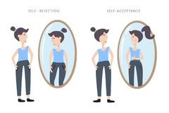 Illustration os self rejection and self acceptance. Young woman watching at her reflection in the mirror royalty free illustration