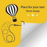 Illustration hot air balloon with a rope and a fishing hook turning a page of a sheet of paper. Vector Eps. royalty free illustration