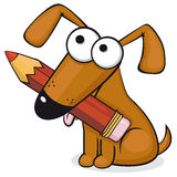 Vector illustration of brown dog with red pencil Stock Photography