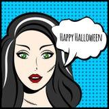 Illustration ou affiche de vecteur de Halloween avec l'épouse de Frankensteins illustration de vecteur