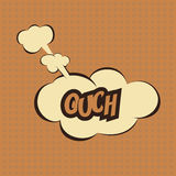 Illustration of a Ouch in comic stile, on cloud Royalty Free Stock Photo