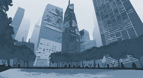 Illustration.Outline City Skyscrapers. Business and tourism concept with . Royalty Free Stock Images