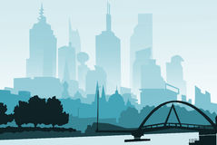 Illustration.Outline City Skyscrapers. Business and tourism concept with . Stock Image