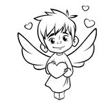 Illustration of outlined baby cupid hugging a heart . Cartoon coloring illustration Royalty Free Stock Photo