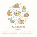 Illustration with outlined natural food signs forming circle Royalty Free Stock Photography