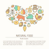 Illustration with outlined natural food signs forming heart Royalty Free Stock Images