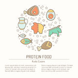 Illustration with outlined protein food signs forming circle. Natural food, meat, dairy products, fish. Colorful minimalist background. Linear design for Stock Photography