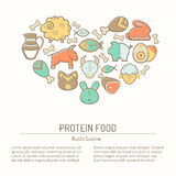 Illustration with outlined protein food signs forming heart Royalty Free Stock Images