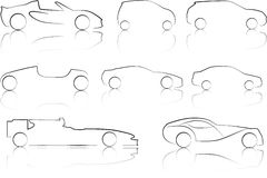 Illustration of Outlines of Cars. An Illustration of Outlines of Cars stock illustration