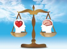3d heart and brain concept with human head silhouette on balance. Blue sky nubes background. Illustration with outstretched man with brains and heart weighed on royalty free illustration