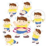 Illustration of overweight boy fitness collection Royalty Free Stock Photography