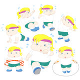Illustration of overweight girl fitness collection Stock Photo