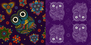 Illustration of owl. Bird illustrated in tribal.Owl whith. Flowers on light background. Shaped and ornamental owl stock image