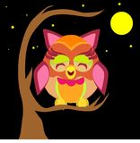 Illustration of an owl on a branch Stock Photography