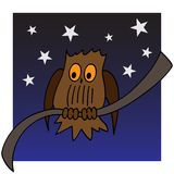 Illustration of an owl on a branch Royalty Free Stock Images
