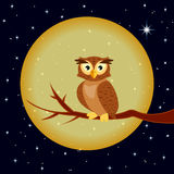 Illustration of owl, sitting on a background of the full moon Royalty Free Stock Photos