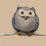 Illustration of an owl. Which is sitting on a branch Stock Images