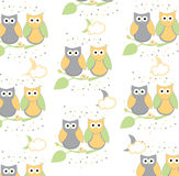 illustration of owls sitting on branch on white background Royalty Free Stock Photography