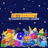 Illustration på astronomiskolatemat stock illustrationer