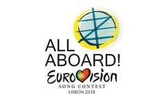 Illustration på den vita striden för bakgrundsEurovision sång Lissabon 2018 royaltyfri illustrationer