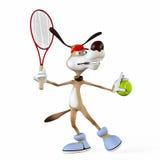 Illustration på ett ämne en hund tennisspelaren. Arkivfoto