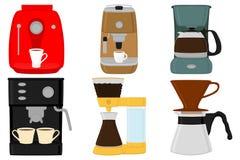 Illustration på maskinen för kaffe för typer för stor kulör uppsättning för tema den olika royaltyfri illustrationer