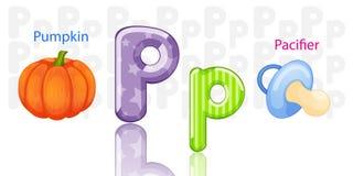 Illustration of P alphabet vector illustration