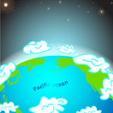 Illustration of Pacific ocean on Earth Royalty Free Stock Images